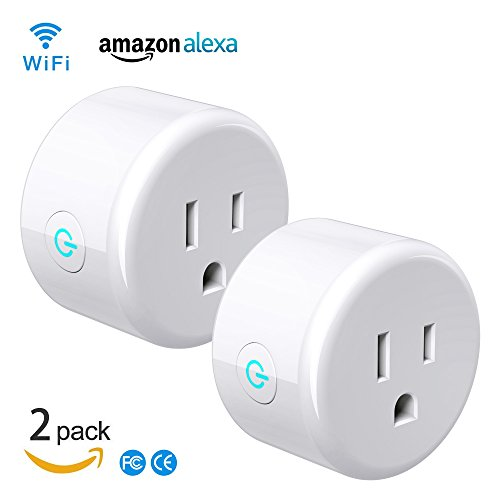 smart wifi plug 2 pack ,Work With Alexa Google Home, Compatible With Voice Activated Devices Echo Dot accessories, Remote Outlet Timer Funtion No Hub Required