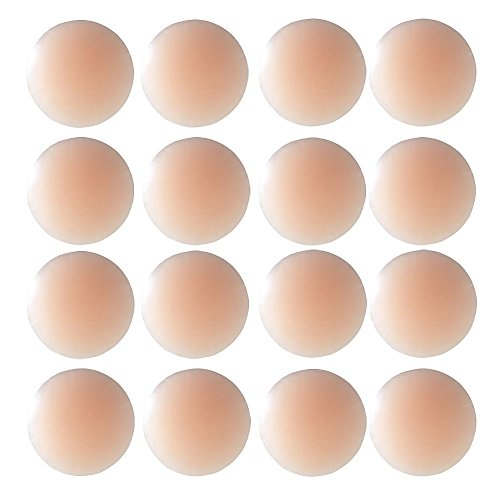 Thin Pasties for Women - Reusable Adhesive Silicone Nipple Skin Covers (8 Pairs Round)