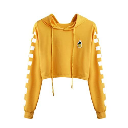 (Womens Pineapple Printed Hoodie Plaid Crop Top Pullover Sweatshirt Shirt Blouse Medium Yellow)