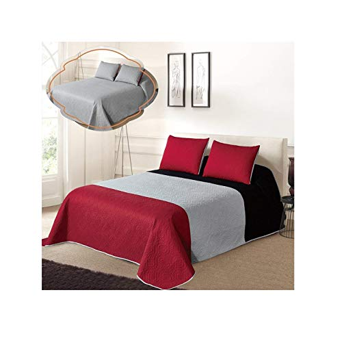 All American Collection New 3pc Solid Three Color Combination Reversible Bedspread Set (KING/ CAL KING, Black/Grey/Red) (All King Size Bedspreads)