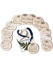 "Linen Perch Baby Milestone Cards - Wooden Monthly Milestones Discs - Newborn Photography Prop -Birth Announcement - Set of 13 Engraved Discs (4"""" diameter) - Drawstring Gift Bag"