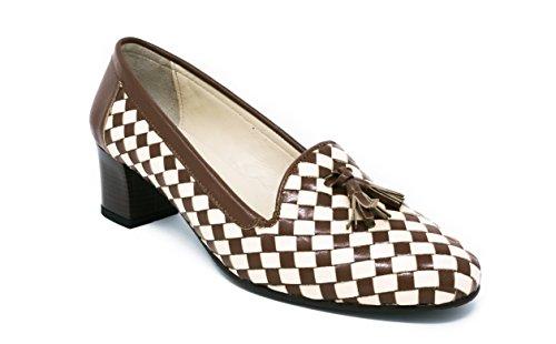 Cuero Tacón Beige Colección 8 de BOBERCK US Grace Cafe Zapato Mujer de para 4qYw6T