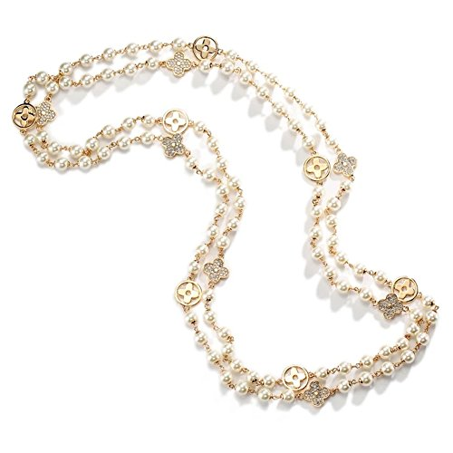 B.Heart Luxurious Multilayer Clover Pearls Necklace All-Match Style Clothing Sweater Chain for (Pearl Clover Necklace)