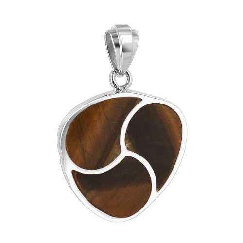 - 925 Sterling Silver Tiger Eye Inlay 23mm Rounded Triangle Pendant
