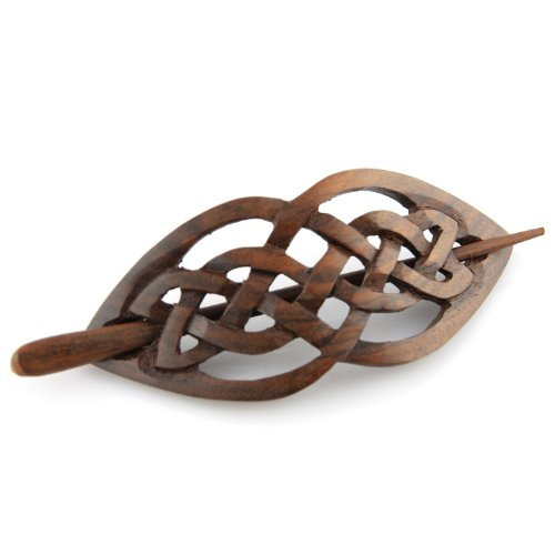 """Evolatree Natural Hair Barrettes for Women and Men - Handmade Wood Barrette Hair Pin - Celtic Love Intertwined Knot - 4"""""""