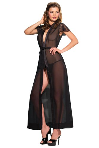 Be Wicked Women's Plus-Size Mesh and Lace Gown, Black, One Size (Mesh Plus Size Costume)
