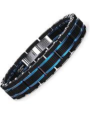 COOLMAN Gioielli Uomo Bracciali Acciaio Inossidabile Blu e Nero Regolabili 19-23 CM(con Confezione Regalo della Marca)