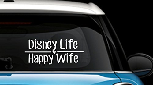 Disney Life Happy Wife Decal Vinyl Sticker|Cars Trucks Vans Walls Laptop| White |7.5 x 3.75 -