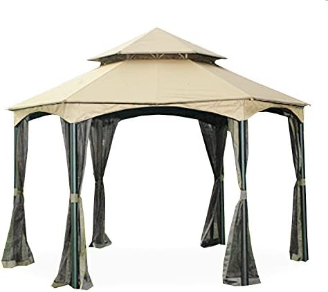 Garden Winds Replacement Canopy for The Southbay Hexagon Gazebo – Standard 350 – Beige