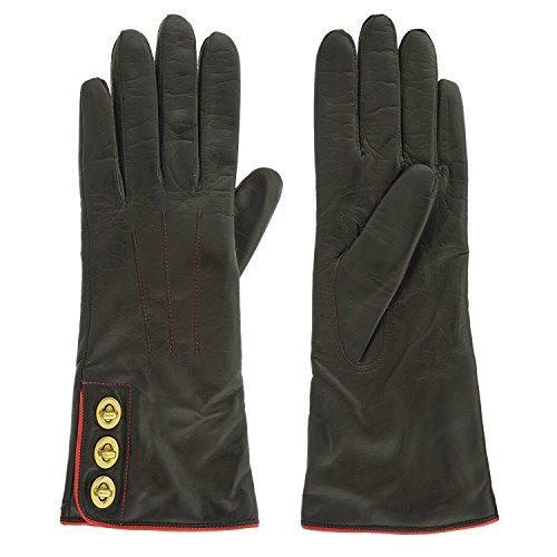 Coach Womens Leather Cashmere Gloves