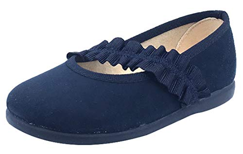 356dfed7fc0 ChildrenChic Girl s Frilly Elastic Mary Jane (Navy Blue Suede