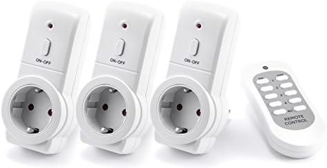 Arendo – Set prese telecomandate 3 e 1 per interni Indoor- 3x set di prese radiocontrollate – incluso 1x telecomando – indicazione di stato a LED – Prese protette