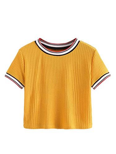 SheIn Women's Tie Dye Print Round Neck Short Sleeve Crop T-Shirt Top (Small, Ginger)