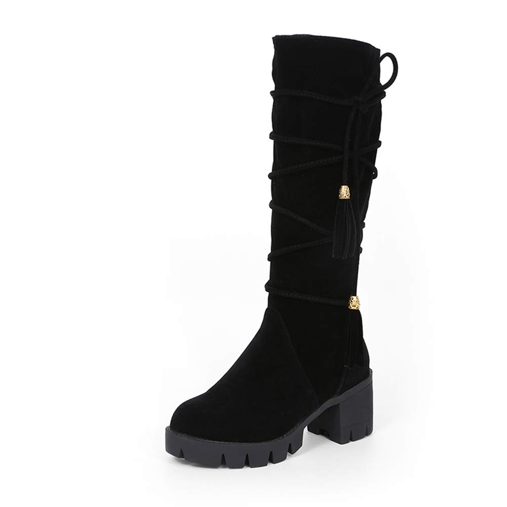 Black Hoxekle Knee High Boot Women Square High Heel Black Beige Vintage Round Toe Winter Casual Snow Long Boots