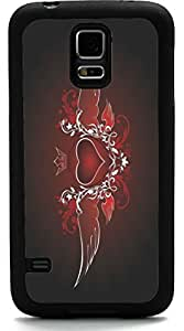 Rikki KnightTM Love Heart Wings Design Samsung? Galaxy S5 Case Cover (Black Rubber with front Bumper Protection) for Samsung Galaxy S5 i9600