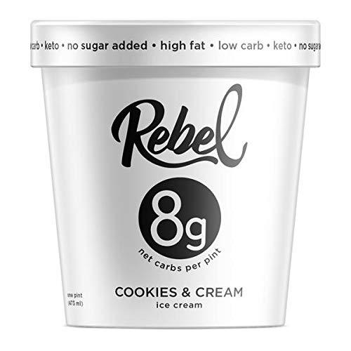Rebel Ice Cream - Low Carb, Keto - Cookies & Cream (8 Count) (Low Fat Cookies And Cream Ice Cream)