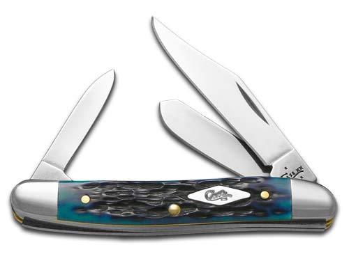 CASE XX Jigged Ocean Blue Bone Medium Stockman Stainless Pocket Knife Knives (Knife Pocket Stockman Large)