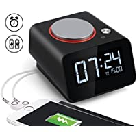 Homtime Bedside Alarm Clock with Dual USB Charging Port