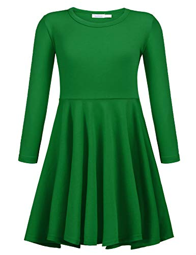 Arshiner Girls' Cotton Long Sleeve Twirly Skater Party Dress, Green, 6 Years -
