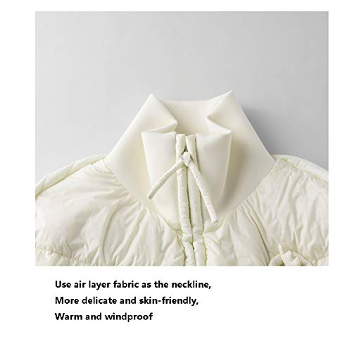 Abrigo Para Lujo Mujer Larga Blanco Pato Sencilla Chaqueta De 85Idwq5