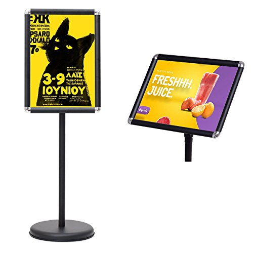 Goplus Adjustable Pedestal Poster Stand Aluminum Snap-in Frame Sign Holder with Telescoping Post (Black, 9.5