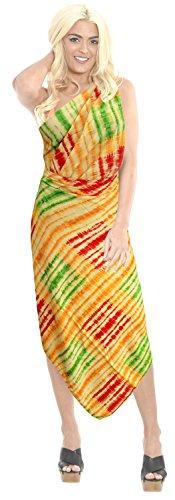 La Leela ropa de playa �tnica de ba�o bikini traje de ba�o del bikini de las mujeres cubre para arriba pareo pareo Naranja Fuerte Y Picante