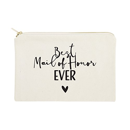 The Cotton & Canvas Co. Best Maid of Honor Ever Wedding Cosmetic Bag, Bridal Party Gift and Travel Make Up Pouch