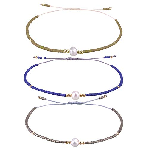 KELITCH 3 Pcs Seed Beaded Bracelets Handmade Friendship Bracelets Family Strand Hand Chain Bangles (Color 02D)
