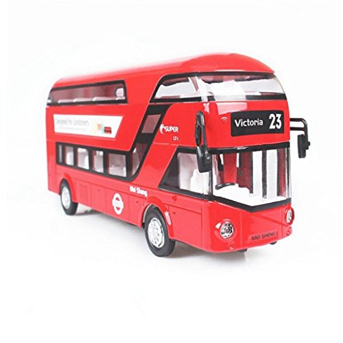 Mallya 1:50 Red Musical Double Decker London Model Diecast Bus Model Play Vehicle Toys For (London Toy)