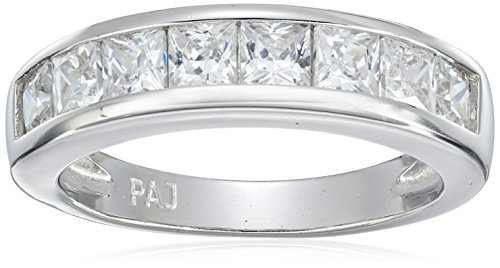ling Silver Princess Cut Cubic Zirconia Channel Set Ring, Size 7 ()