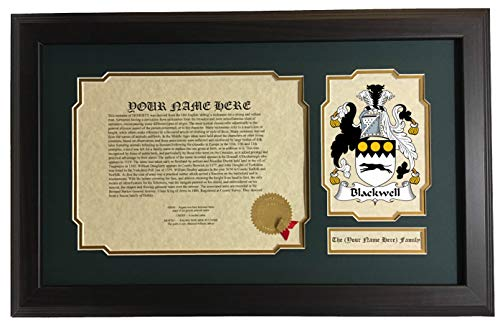 Blackwell Hanging - Blackwell - Coat of Arms and Last Name History, 14x22 Inches Matted and Framed