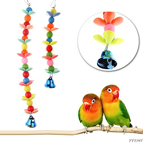 Bird Toys – Colorful Ringer Conure Caique Cockatiel Cage Bell Hanging Chew Toys Bird Parrot W110 – Animal Play Feed…