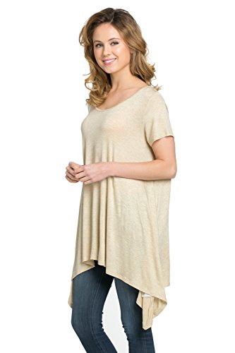 Frumos Womens Tunic Short Sleeve Top T Shirts T Shirts IT-Oatmeal X-Large Photo #4