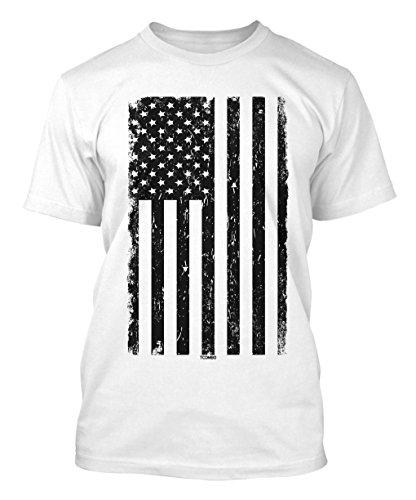 Big Black American Flag Men's T-shirt (Medium, WHITE) - American Flag White T-shirt