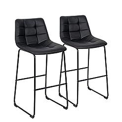 Kitchen ORISTUS BBlack Pub Height Bar Stools with Back, PU Leather Pub Stool Chairs Armless Modern Kitchen High Dining Chairs… modern barstools