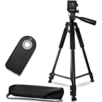 60 Inch Lightweight Aluminum Camera Tripod Bundle (5 Piece Set) – Includes Remote Shutter Release for Nikon, Carrying Case and Microfiber Lens Cleaning Cloth