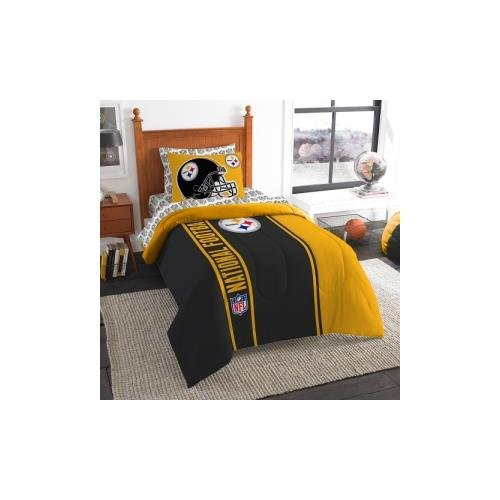 Officially Licensed NFL Pittsburgh Steelers Soft & Cozy 5-Piece Twin Size Bed in a Bag Set (Twin Comforter Steelers Pittsburgh)
