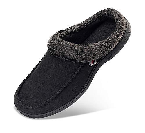 PromArder Men's House Slippers Comfortable House Slippers Anti-Slip Indoor Outdoor for Winter Black ()