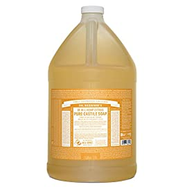 Dr. Bronner's - Pure-Castile Liquid Soap (Citrus, 1 Gallon) - Made with Organic Oils, 18-in-1 Uses: Face, Body, Hair… 9 SMOOTH AND MOISTURIZING: The organic and vegan ingredients are combined with a pure-castile liquid soap base for a rich, emollient lather and a moisturizing after feel. NATURAL: Smooth and luxurious soap with no synthetic detergents or preservatives, as none of the ingredients or organisms are genetically modified. CERTIFIED ORGANIC AND VEGAN: Certified organic by the USDA National Organic Program and certified Vegan by Vegan Action.