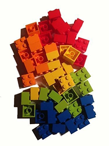 Lego 2x2 Bricks, 50 Count, (Red, Orange, Yellow, Lime, Blue) by BrickheadCFO (Lego Bricks Assorted)