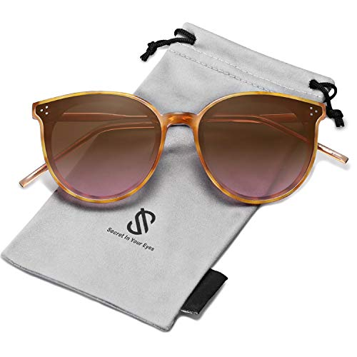 Large Designer Sunglasses - SOJOS Designer Round Sunglasses for Women Oversized Frame with Rivets DOLPHIN SJ2068 with Yellow Tortoise Frame/Gradient Brown Lens
