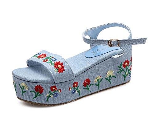zapatos GLTER plataforma verano bordado de de romanos cuña Sandalias vaquero para azul mujer impermeable Z4PZHqr