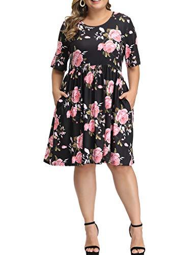 Allegrace Dress for Women Plus Size Summer Floral Print Short Sleeve Flowy Midi Dresses with Pocket P29 Roses Black 3X ()