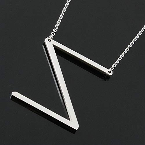 Mikash Personalized Stainless Steel Initial Large 26 A-Z Letters Pendant Necklace Gift | Model NCKLCS - 39628 | ()