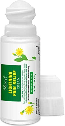 Pain Relief Cream Roll On with Arnica, Emu Oil, MSM, Menthol, Anti Inflammatory Cream with Camphor, Boswellia, VIT B6, Fast Relief for Back Pain, Arthritis, Neck Shoulder Joint Muscle Pain, 3.56 Oz