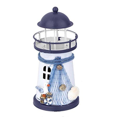 WINOMO Lighthouse Decor Marine Model Tealight Holder Nautical Fish Net Shell ()