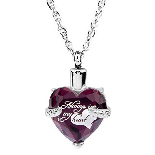 Amethyst Heart Locket (Glass Cremation Jewelry Always in My Heart Birthstone Pendant Urn Necklace Ashes Holder Keepsake by IMEIM (Feb(Amethyst)))