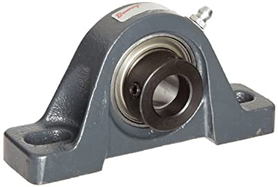 """Browning VPE-135 Pillow Block Ball Bearing, 2 Bolt, Eccentric Lock, Contact and Flinger Seal, Cast Iron, Inch, 2-3/16"""" Bore, 2-1/2"""" Base To Center Height"""
