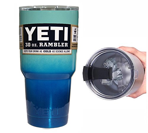 YETI Coolers 30 Ounce (30oz) (30 oz) Custom Rambler Tumbler Cup Mug with Exclusive Spill Resistant Lid (Seafoam Blue Ombre)