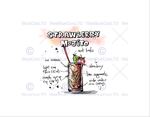The Art Stop Painting Alcohol Cocktail Recipe Strawberry Mojito Print B12X13490 ()